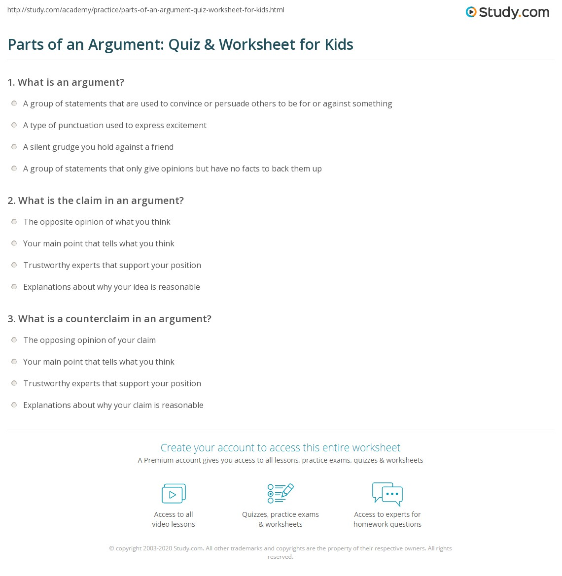 Parts Of An Argument Quiz Amp Worksheet For Kids
