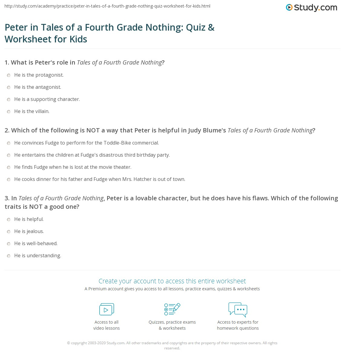 Peter In Tales Of A Fourth Grade Nothing Quiz Amp Worksheet