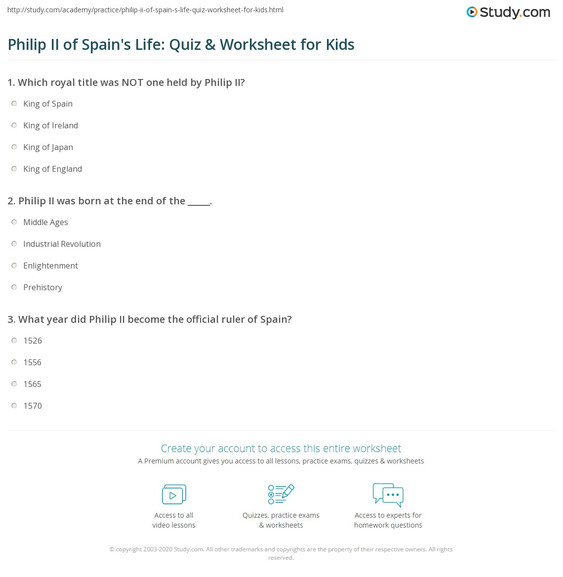 Philip Ii Of Spain S Life Quiz Amp Worksheet For Kids