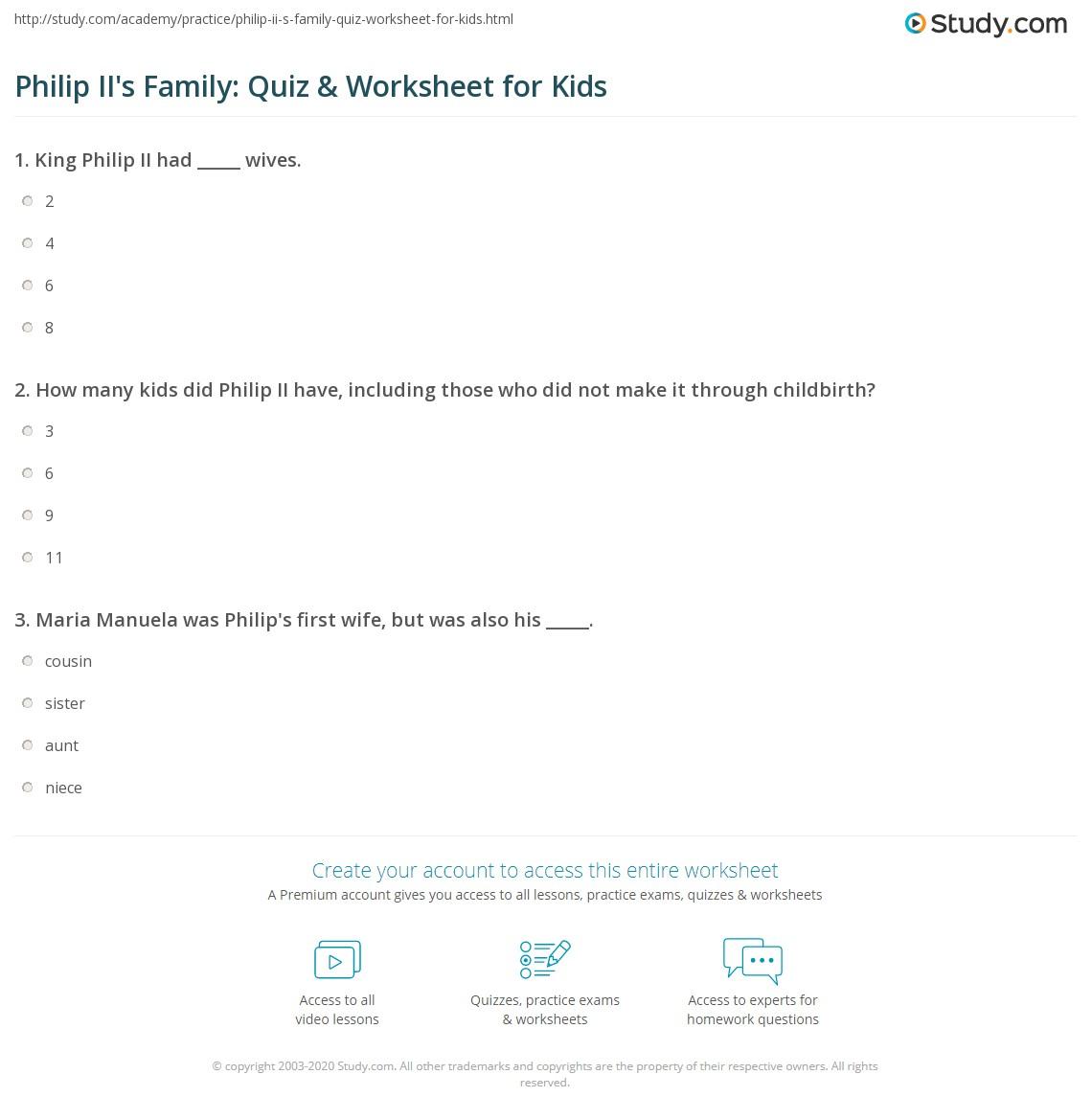 Philip Ii S Family Quiz Amp Worksheet For Kids