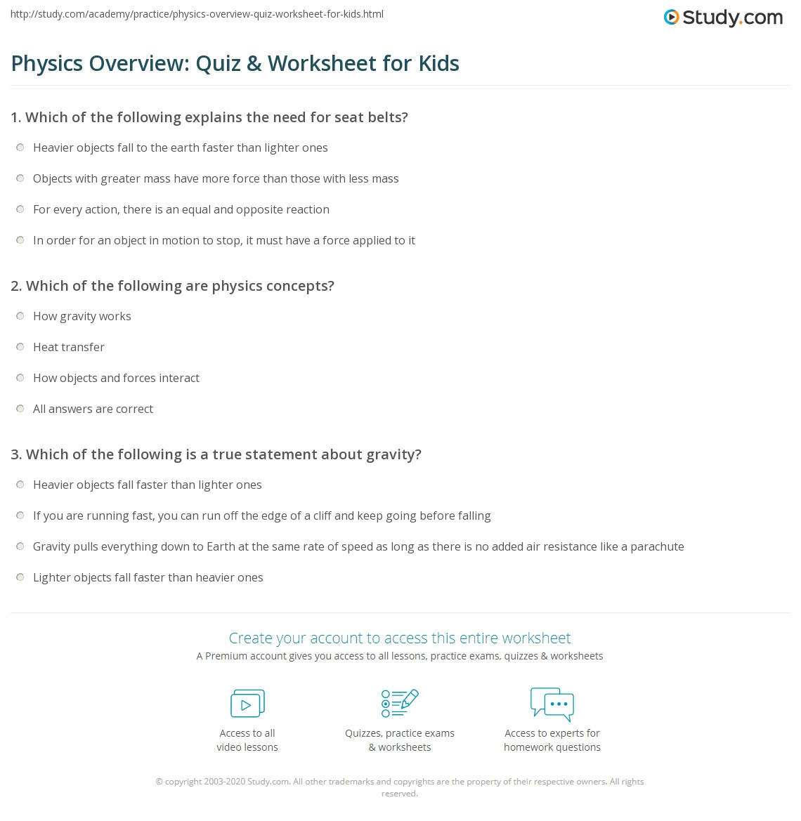 Physics Overview Quiz Amp Worksheet For Kids