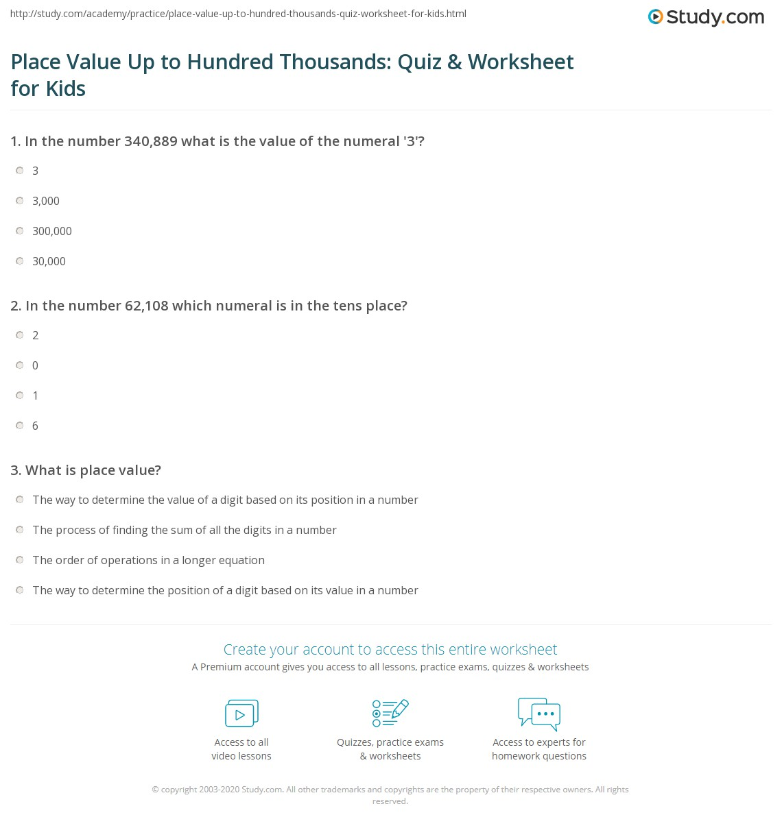 Place Value Up To Hundred Thousands Quiz Amp Worksheet For