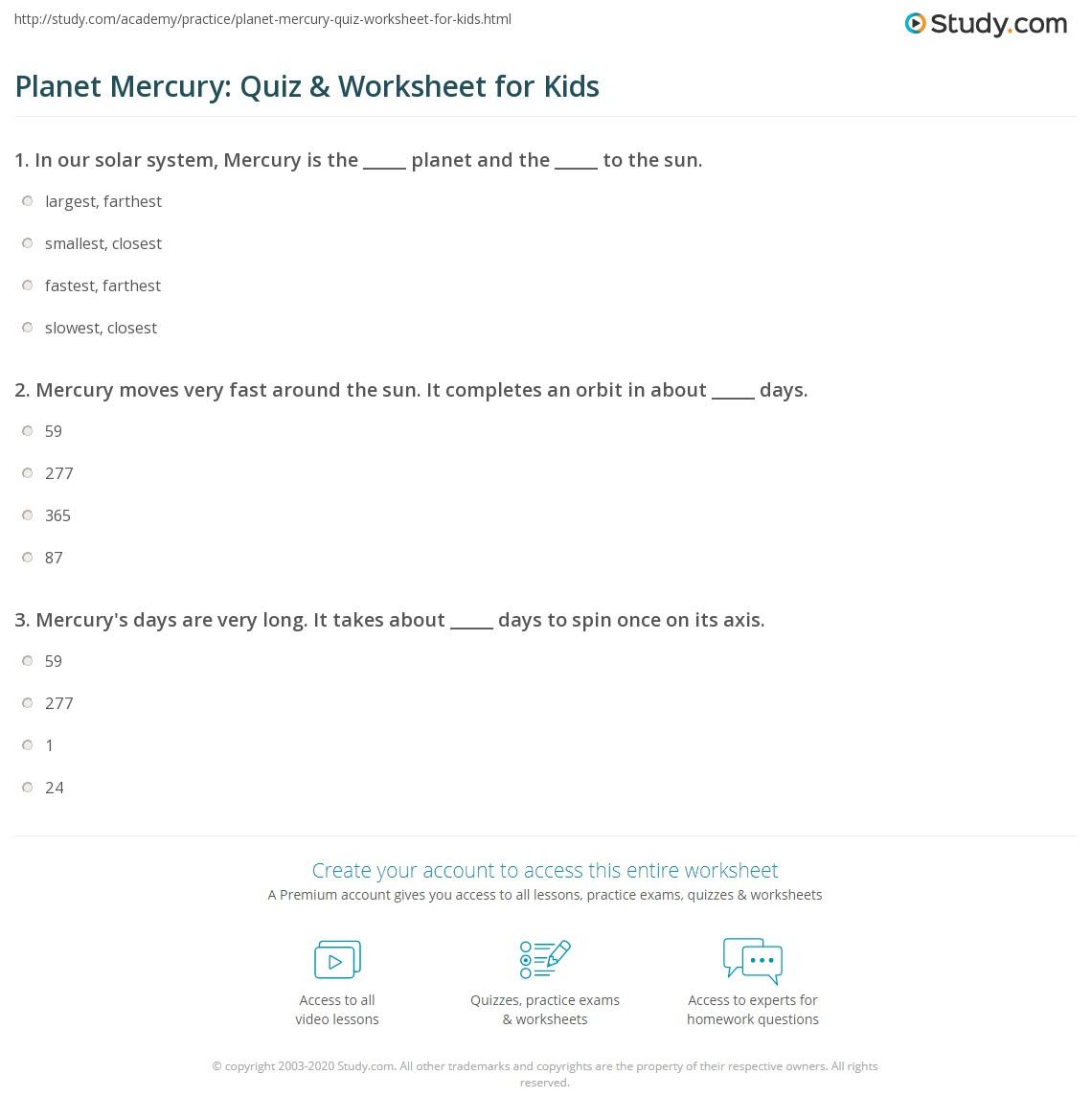 Planet Mercury Quiz Amp Worksheet For Kids