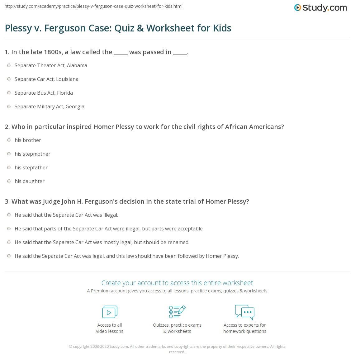 Plessy V Ferguson Case Quiz Amp Worksheet For Kids
