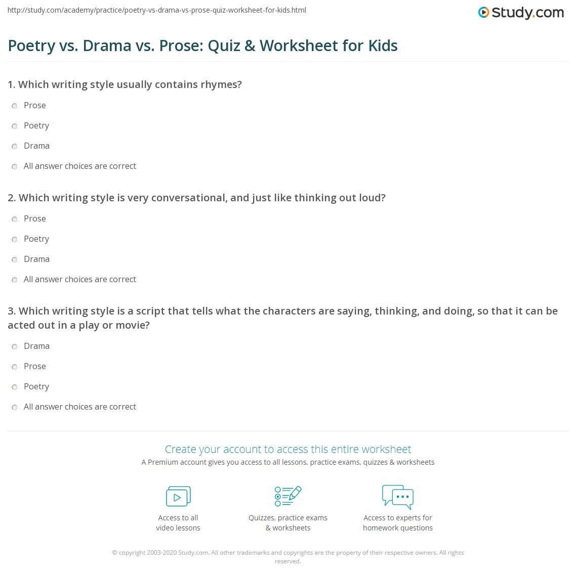 Poetry Vs Drama Vs Prose Quiz Amp Worksheet For Kids