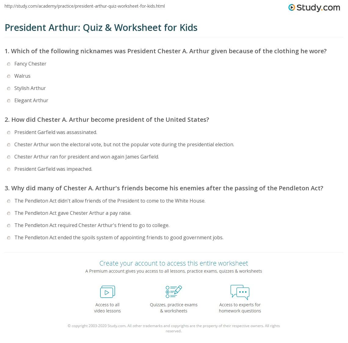 President Arthur Quiz Amp Worksheet For Kids