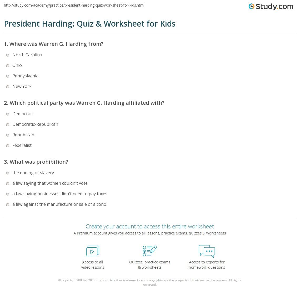 President Harding Quiz Amp Worksheet For Kids