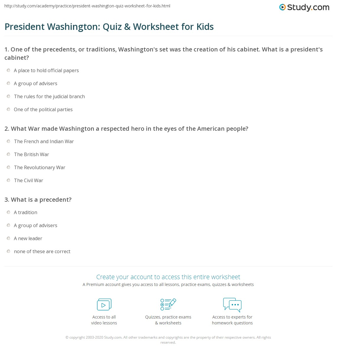 President Washington Quiz Amp Worksheet For Kids