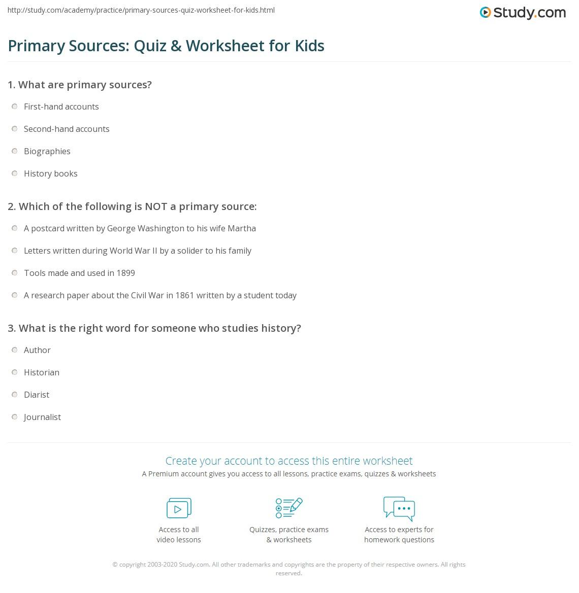 Primary Sources Quiz Amp Worksheet For Kids