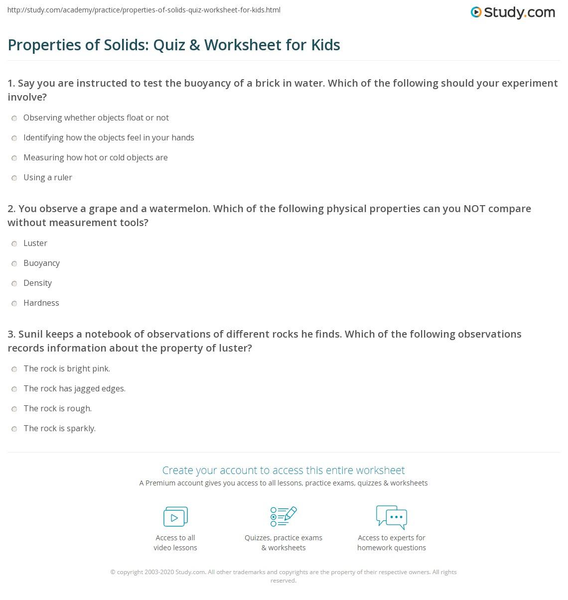 Properties Of Solids Quiz Amp Worksheet For Kids