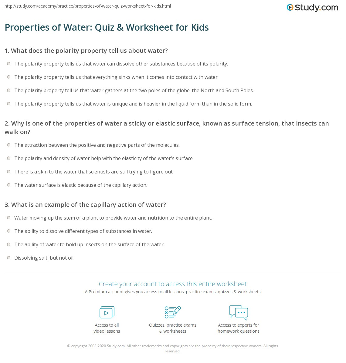 Properties Of Water Quiz Amp Worksheet For Kids