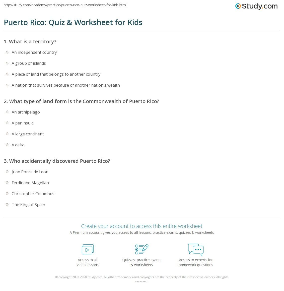 Puerto Rico Quiz Amp Worksheet For Kids