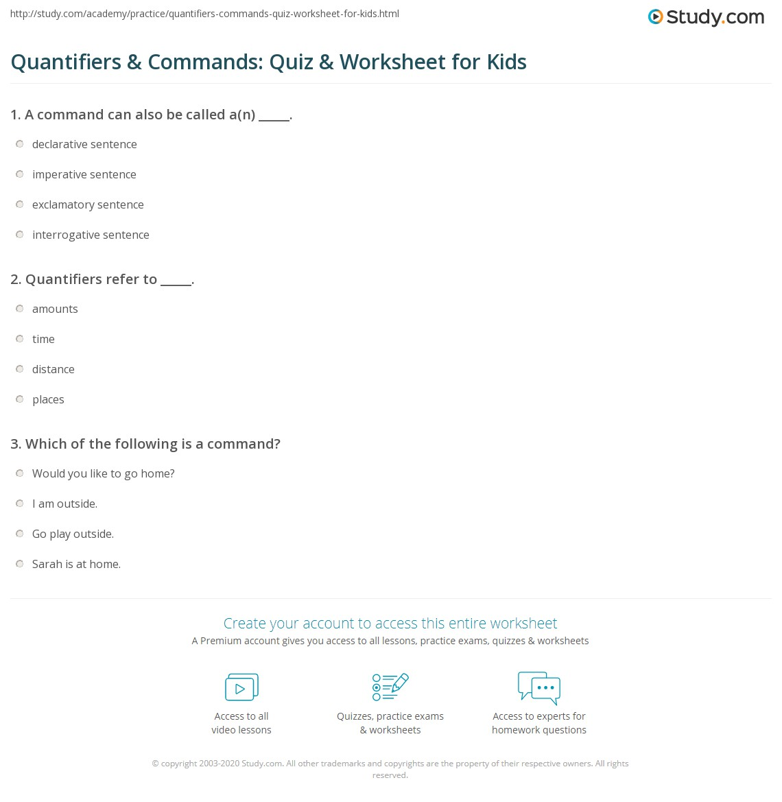 Quantifiers Amp Commands Quiz Amp Worksheet For Kids