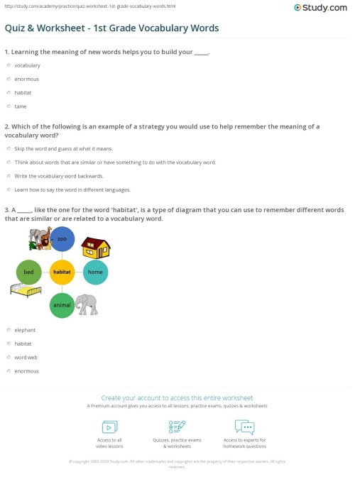 small resolution of Quiz \u0026 Worksheet - 1st Grade Vocabulary Words   Study.com