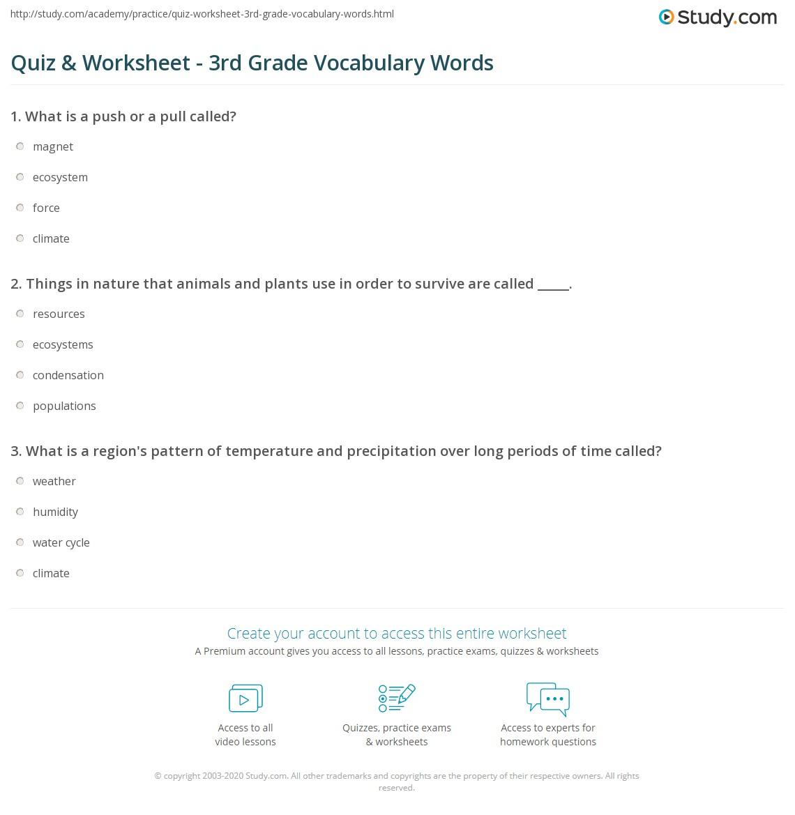hight resolution of Quiz \u0026 Worksheet - 3rd Grade Vocabulary Words   Study.com