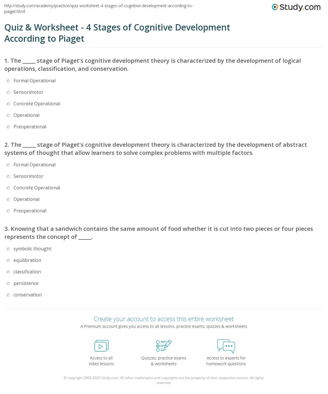Piaget Worksheet Answers