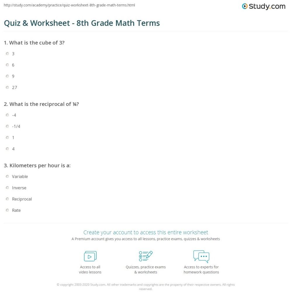 medium resolution of Quiz \u0026 Worksheet - 8th Grade Math Terms   Study.com
