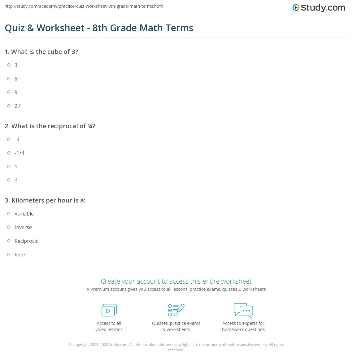 hight resolution of Quiz \u0026 Worksheet - 8th Grade Math Terms   Study.com