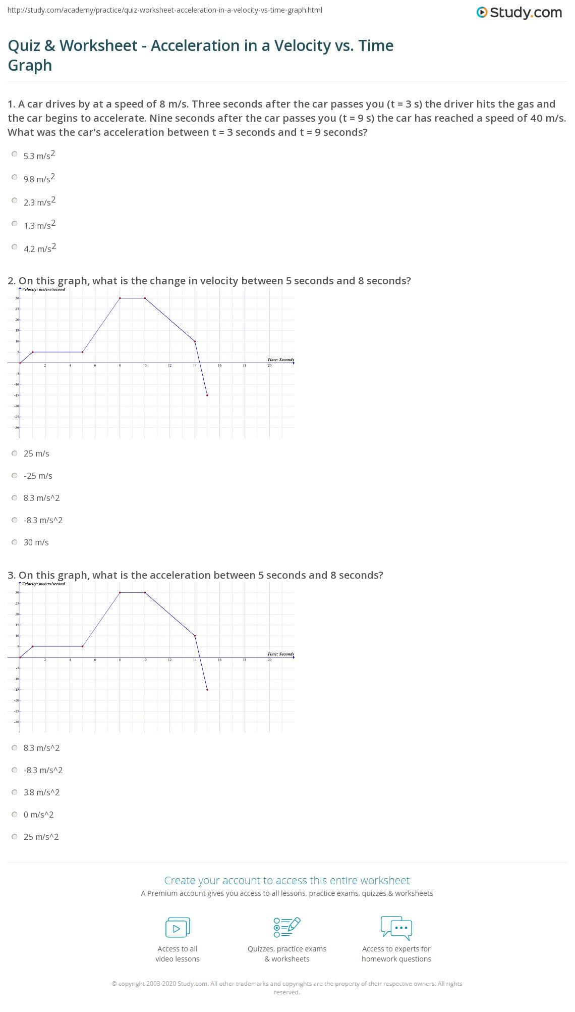 Acceleration Vs Time Graph Worksheet