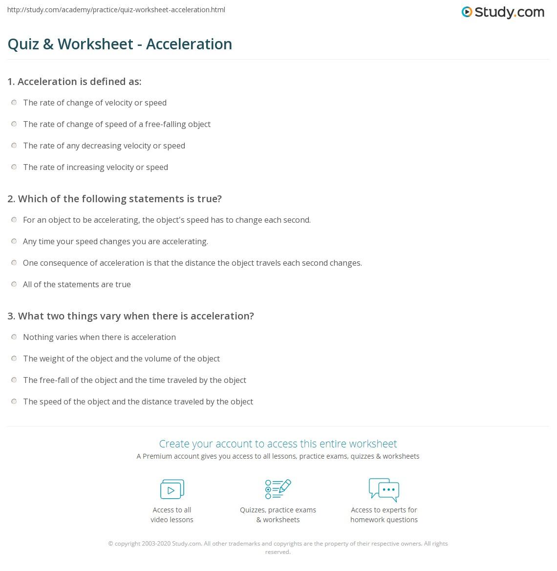 Acceleration Worksheet Concept