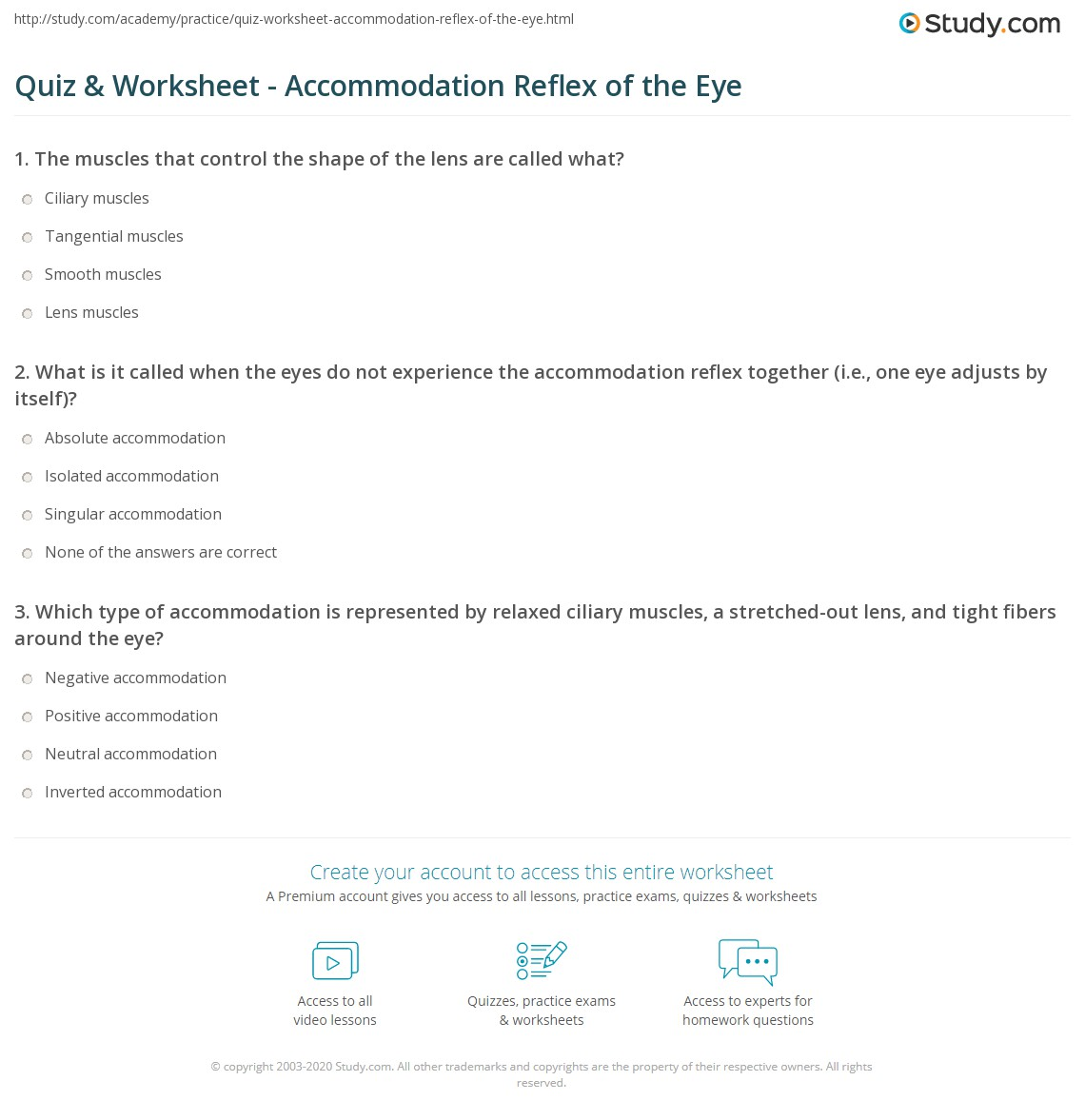 hight resolution of print accommodation reflex of the eye definition purpose worksheet