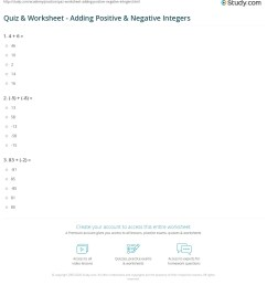 Quiz \u0026 Worksheet - Adding Positive \u0026 Negative Integers   Study.com [ 1241 x 1140 Pixel ]