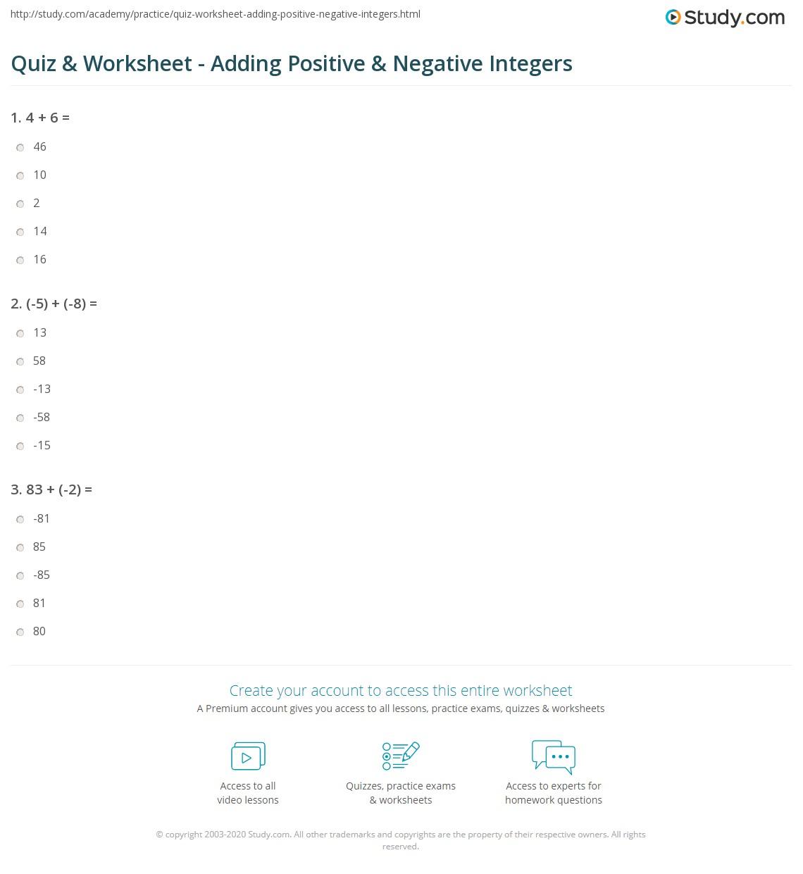 hight resolution of Quiz \u0026 Worksheet - Adding Positive \u0026 Negative Integers   Study.com