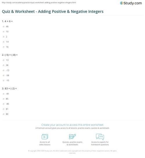 small resolution of Quiz \u0026 Worksheet - Adding Positive \u0026 Negative Integers   Study.com