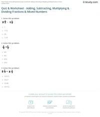 Quiz & Worksheet - Adding, Subtracting, Multiplying ...