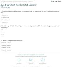 Quiz & Worksheet - Addition Rule & Mendelian Inheritance ...