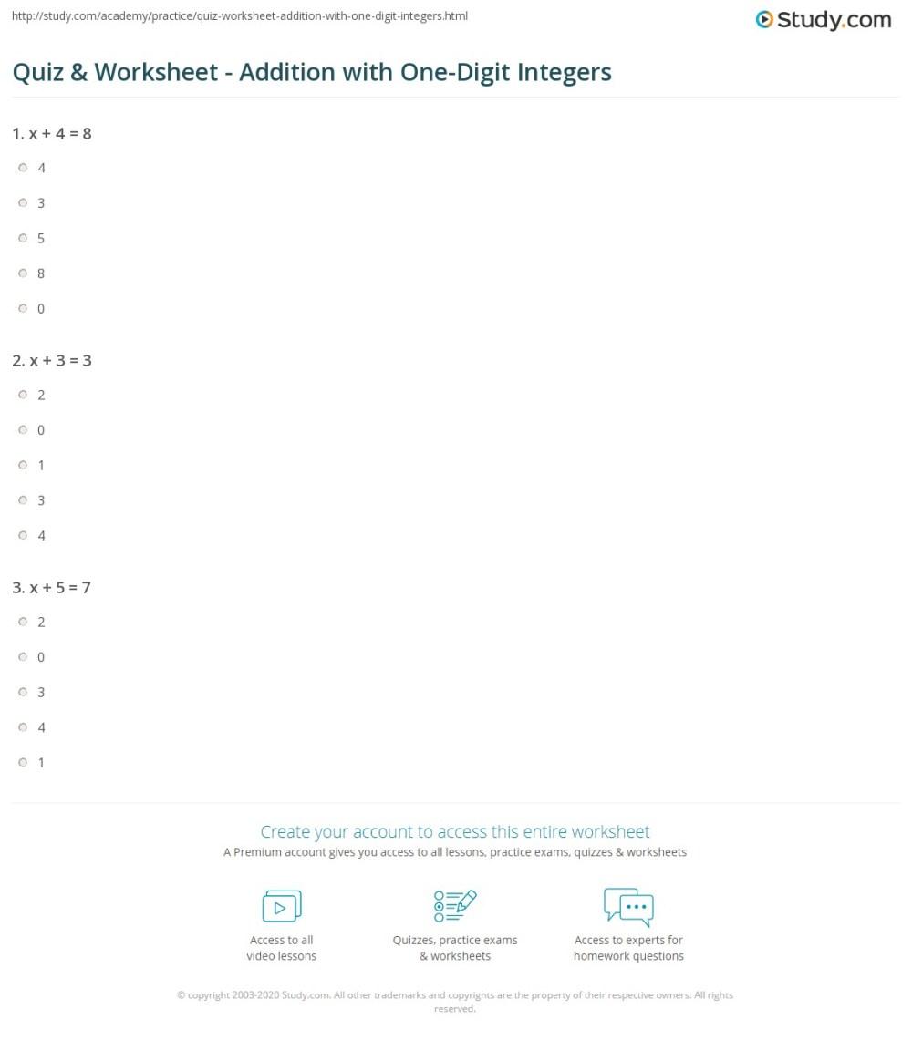 medium resolution of Quiz \u0026 Worksheet - Addition with One-Digit Integers   Study.com