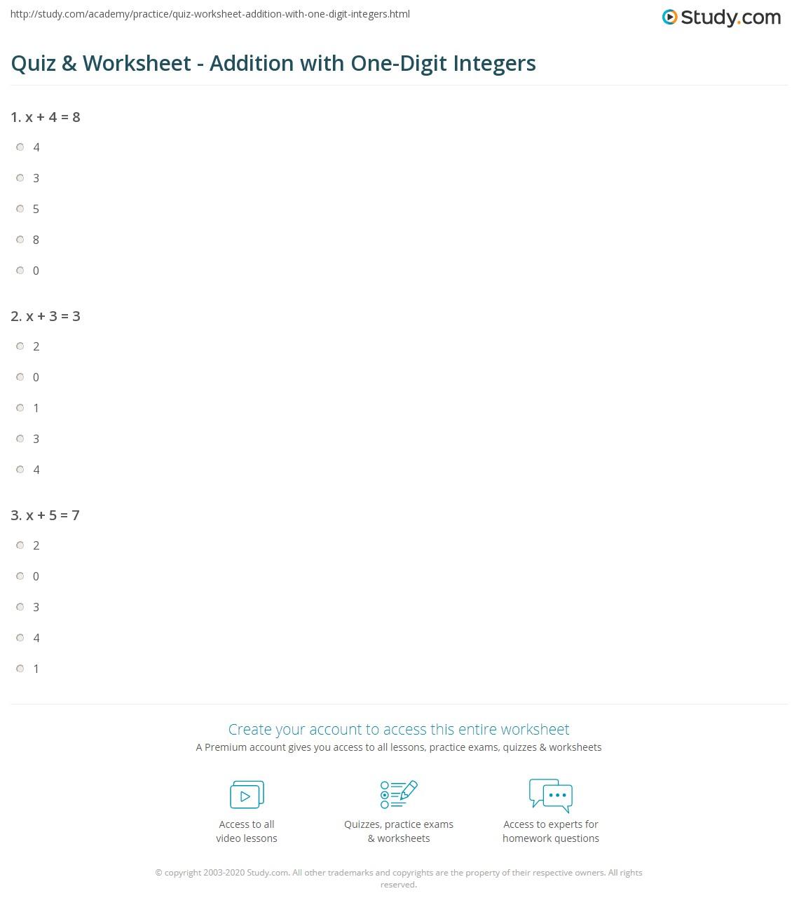 hight resolution of Quiz \u0026 Worksheet - Addition with One-Digit Integers   Study.com
