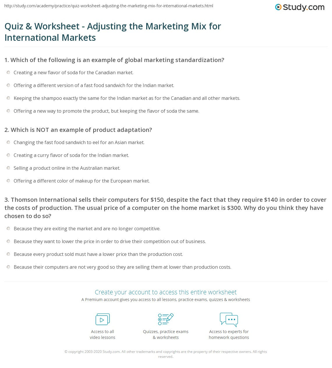 Marketing Mix Worksheet