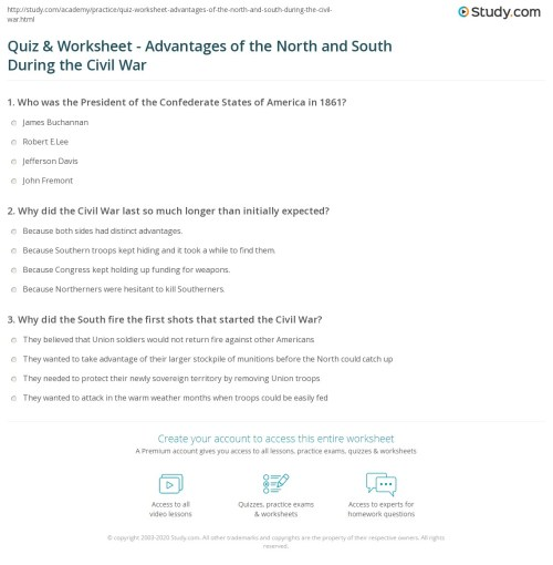 small resolution of Civil War Leaders Worksheet - Nidecmege