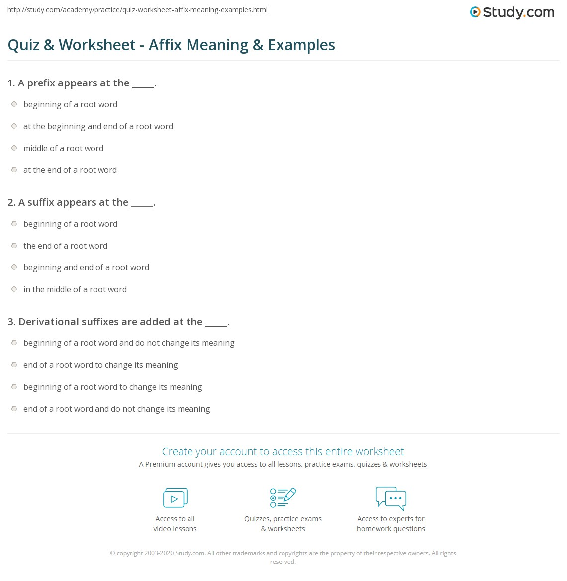 hight resolution of Quiz \u0026 Worksheet - Affix Meaning \u0026 Examples   Study.com