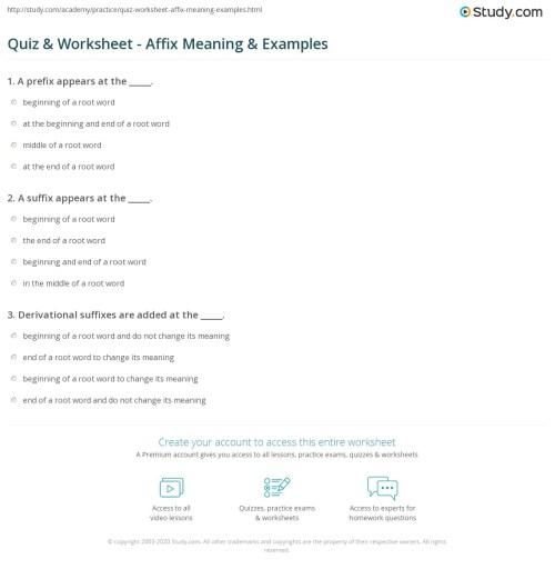 small resolution of Quiz \u0026 Worksheet - Affix Meaning \u0026 Examples   Study.com
