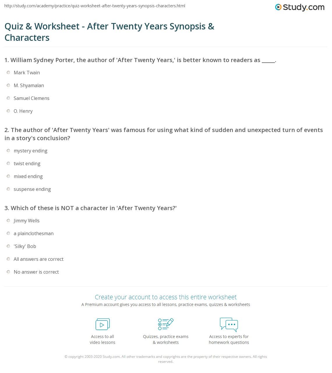 hight resolution of Quiz \u0026 Worksheet - After Twenty Years Synopsis \u0026 Characters   Study.com