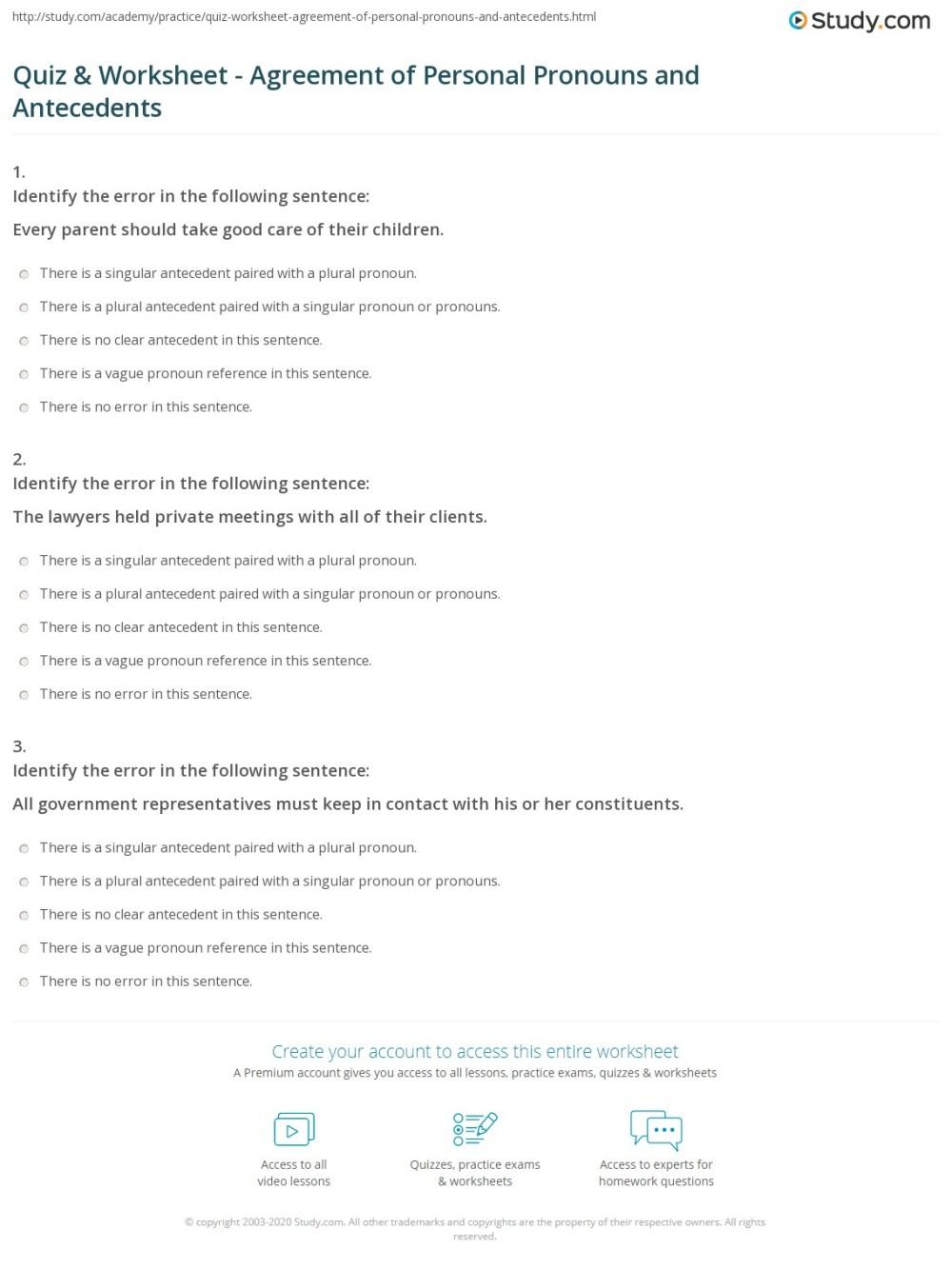 medium resolution of Pronoun Antecedent Agreement Worksheet - Promotiontablecovers