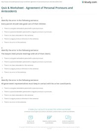 Pronoun Antecedent Worksheets Free Worksheets Library