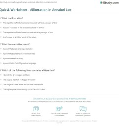 Quiz \u0026 Worksheet - Alliteration in Annabel Lee   Study.com [ 1169 x 1140 Pixel ]
