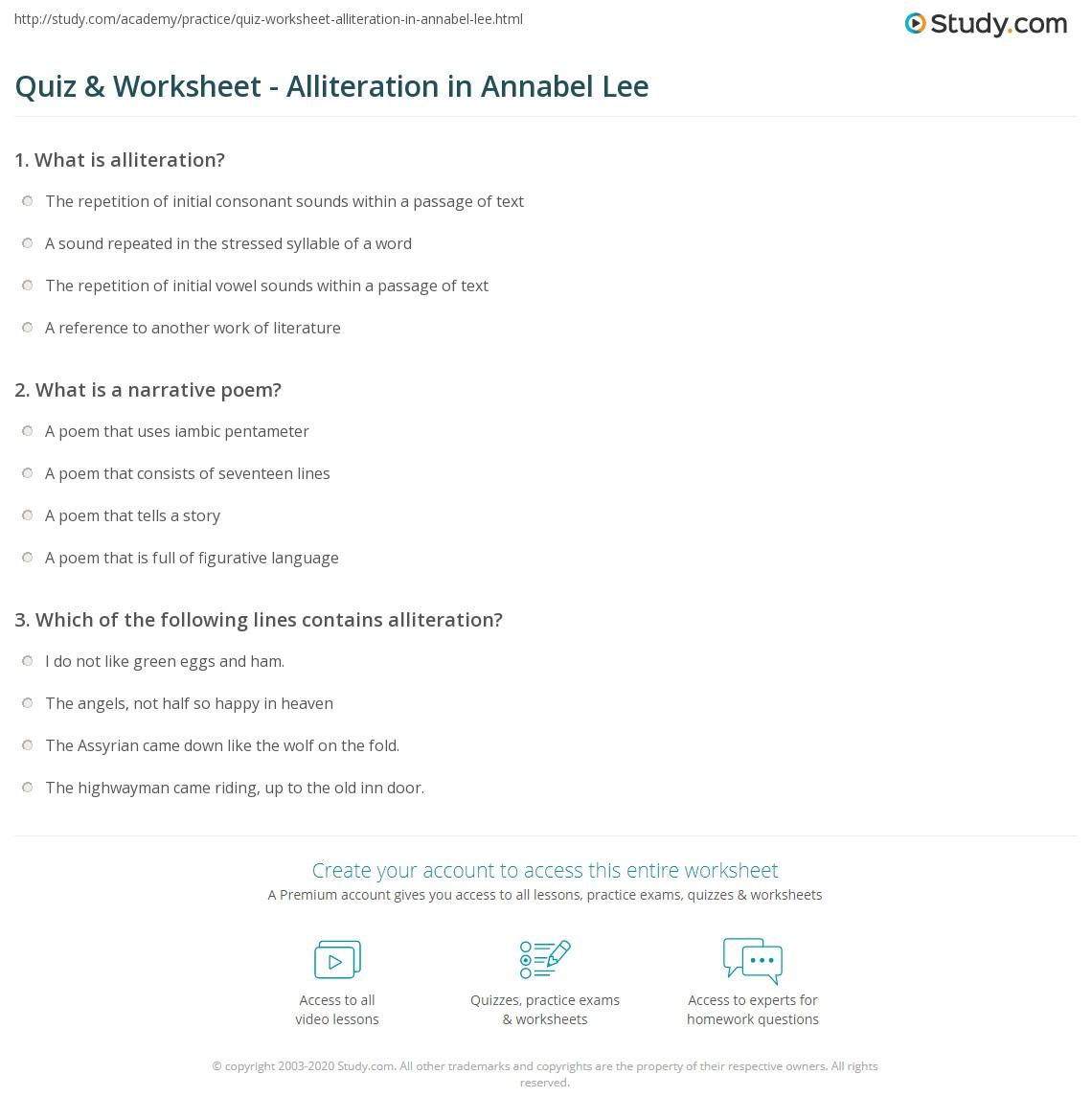 hight resolution of Quiz \u0026 Worksheet - Alliteration in Annabel Lee   Study.com