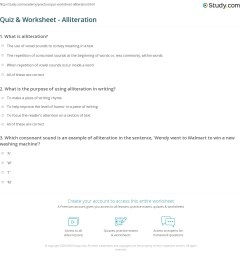 Quiz \u0026 Worksheet - Alliteration   Study.com [ 1181 x 1140 Pixel ]