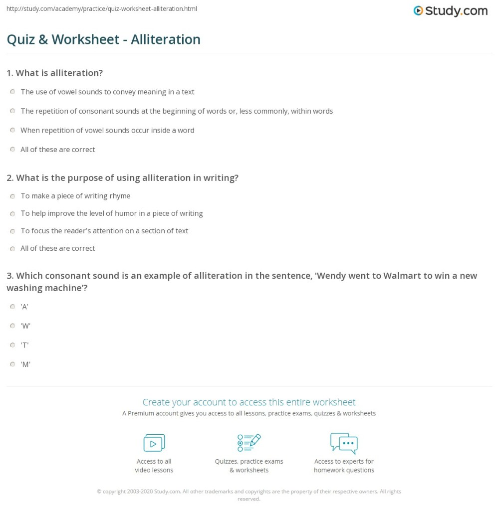 medium resolution of Quiz \u0026 Worksheet - Alliteration   Study.com
