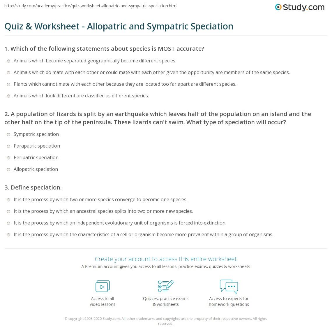 Pictures Speciation Worksheet