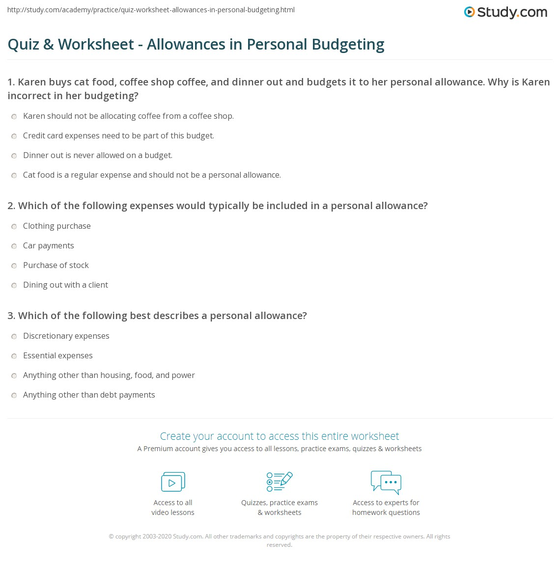 Allowance Worksheet