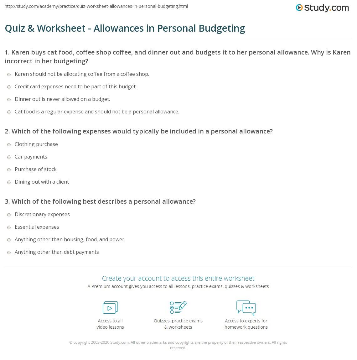Allowances Worksheet