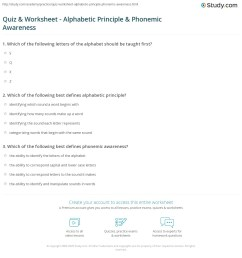Quiz \u0026 Worksheet - Alphabetic Principle \u0026 Phonemic Awareness   Study.com [ 1208 x 1140 Pixel ]