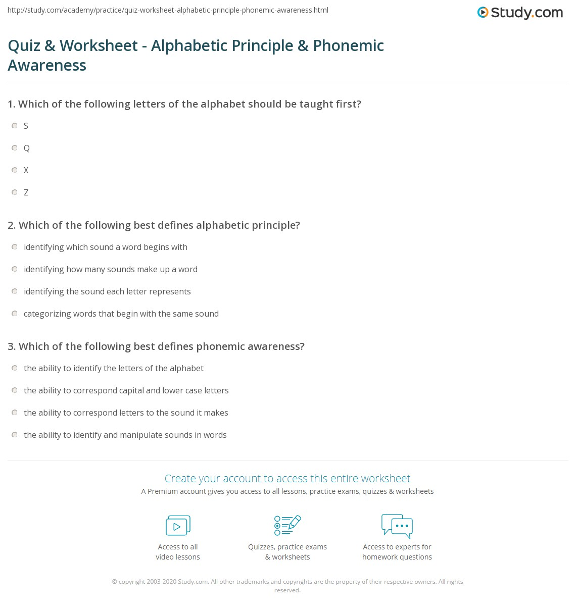 hight resolution of Quiz \u0026 Worksheet - Alphabetic Principle \u0026 Phonemic Awareness   Study.com