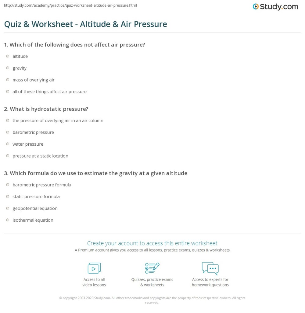 medium resolution of Quiz \u0026 Worksheet - Altitude \u0026 Air Pressure   Study.com