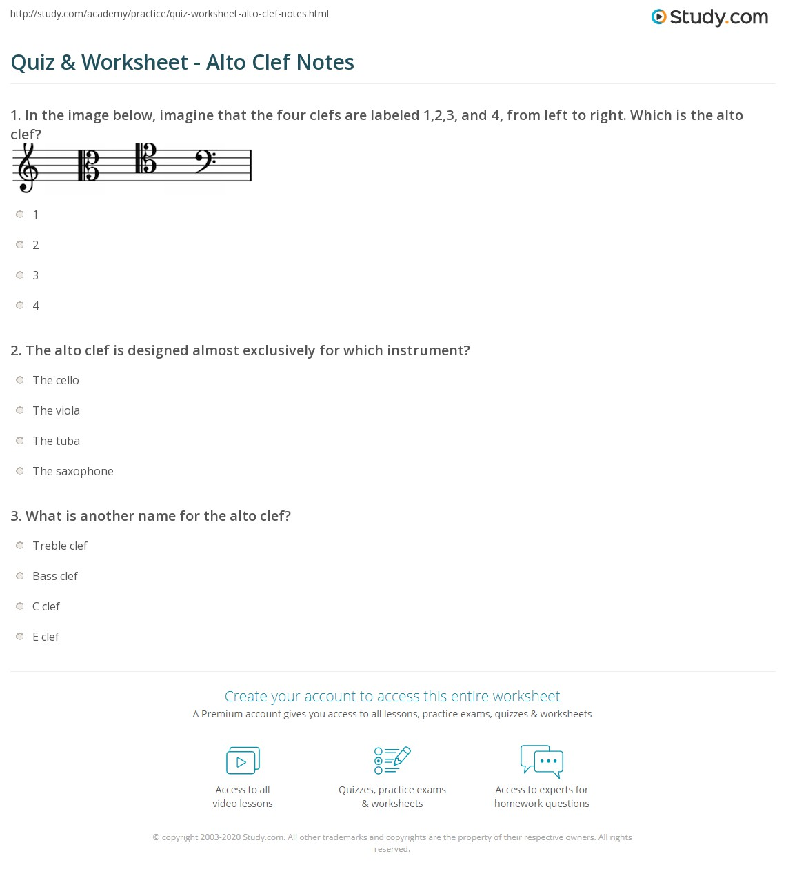 Bass Clef C Position Worksheet